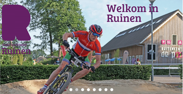 Screenshot van de citymarketing-website Ruinen.nl