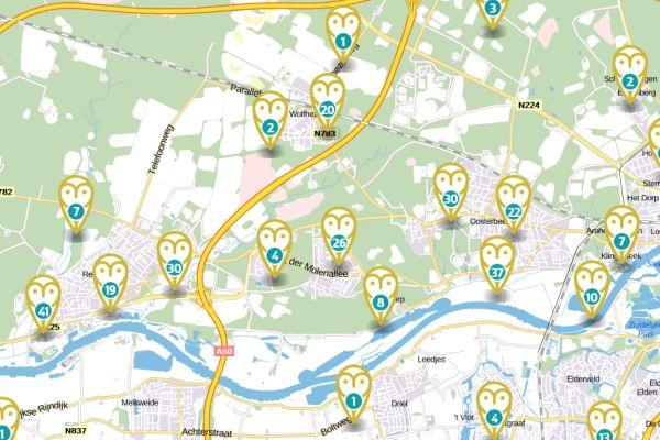 Screenshot van organisaties op de digitale sociale kaart
